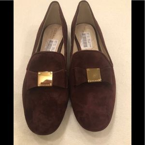 NWT Cole Haan burgundy suede loafers with bow, 8.5